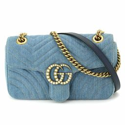 Shindo Gucci Quilted Denim GG Marmont Chain Shoulder Bag Blue 443497 [Brand]