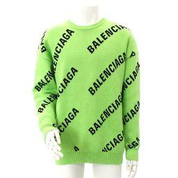 Balenciaga Knit Sweater Tops Long Sleeve Logo Green Size XS 2018 Men's [Apparel] ★