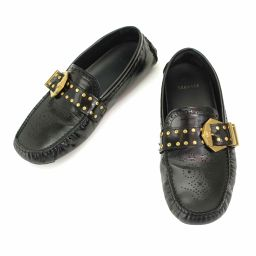 Versace Driving Shoes Leather Black 41 26.0 26.5cm Gold Hardware Men [Accessories] ★