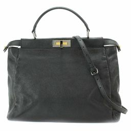 New Fendi Peekaboo Large 2way Hand Shoulder Bag Leather Black 8BN210 [Brand] ★