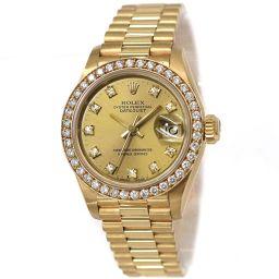 ロレックス デイトジャスト 69138G ダイヤベゼル レディース 腕時計 K18YG 10P ダイヤ 自動巻き 【腕時計】★
