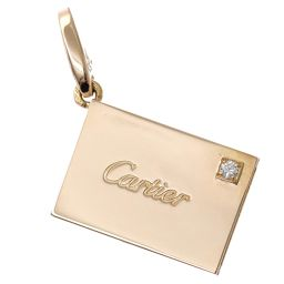 Cartier letter motif diamond charm K18PG 18k pink gold 750 pendant top Cartier [BJ] ★