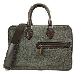 Shinto Berluti Mouton Tojour Business Bag Leather Brown Gray [Brand] ★