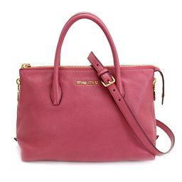 Miu Miu MIUMIU Madras 2way Hand Shoulder Bag Leather Pink RN1016 [Brand] ★