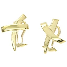 Tiffany Kiss Cross Earrings K18YG 18K Yellow Gold 750 TIFFANY & Co. [BJ] ★