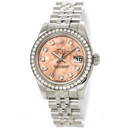 ロレックス デイトジャスト 179384G ダイヤベゼル 腕時計 10P ダイヤ ピンクゴールドクリスタル 文字盤 【腕時計】★