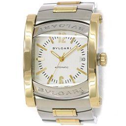 ブルガリ BVLGARI アショーマ コンビ AA44SG メンズ 腕時計 デイト シルバー 文字盤 K18YG 自動巻き 【腕時計】★