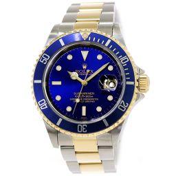ロレックス サブマリーナ デイト コンビ 16613 A番 メンズ 腕時計 ブルー 文字盤 K18YG 自動巻き 【腕時計】★