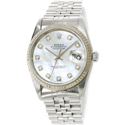 Rolex Datejust 16234NG F number Men's watch 10P diamond White shell Dial Automatic winding [Watch] ★