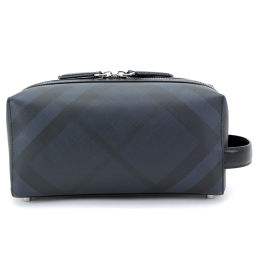 New unused Burberry London check travel pouch clutch bag navy black [brand] ★