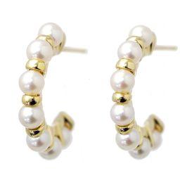 NINA RICCI Baby Pearl Hoop Earrings K18YG [BJ] ★
