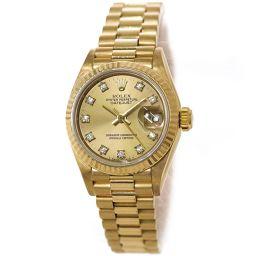 ロレックス デイトジャスト 69178G R番 レディース 腕時計 K18YG イエローゴールド 750 10P 自動巻き 【腕時計】★