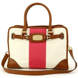 Shindo Michael Kors 2way Tote Shoulder Bag Canvas Leather White Red [Brand] ★