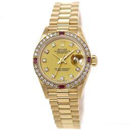 ロレックス デイトジャスト 69068G 9番 ダイヤ ルビー ベゼル レディース 腕時計 10Pダイヤ K18YG 【腕時計】★