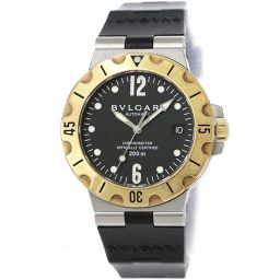 ブルガリ ディアゴノ スクーバー コンビ SD38SG メンズ 腕時計 デイト ブラック 文字盤 K18YG 自動巻き 【腕時計】★