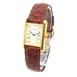 カルティエ マストタンク ヴェルメイユ 5057001 レディース 腕時計 SV925 アイボリー 文字盤 クォーツ 【腕時計】★