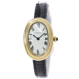 カルティエ ベニュワール レディース 腕時計 ホワイト 文字盤 18YG イエローゴールド  クォーツ 【腕時計】★