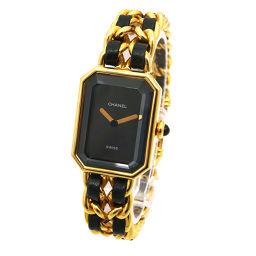 シャネル プルミエール Lサイズ H0001 レディース 腕時計 ブラック 文字盤 ゴールド クォーツ ウォッチ 【腕時計】★