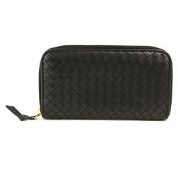Bottega Veneta Intorechato Round zipper Long wallet Leather Black 114076 [Brand] ★