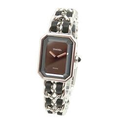 シャネル プルミエール Lサイズ H0451 レディース 腕時計 ブラック 文字盤 シルバー クォーツ ウォッチ 【腕時計】★