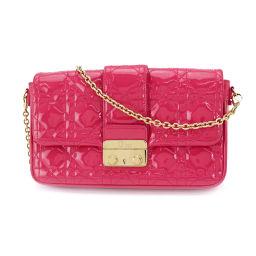 Christian Dior Canage Chain Shoulder Bag Enamel Pink [Brand] ★