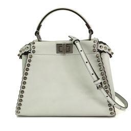 Unused exhibit Fendi mini peekaboo 2way handbag leather gray [brand] ★