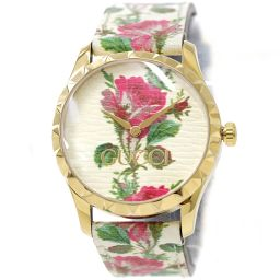 Gucci G Timeless Ladies Watch YA1264084 Ivory Flower Dial Quartz Watch [Watch] ★