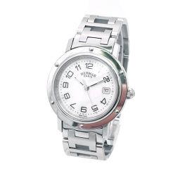 エルメス クリッパーナクレ CL6 410 ボーイズ 腕時計 デイト ホワイトシェル 文字盤 クォーツ ウォッチ 【腕時計】★