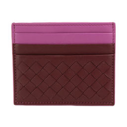 Shindo Bottega Veneta Intrecciato Card Case Leather Bordeaux Light Purple [Brand] ★