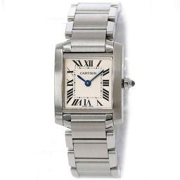 カルティエ タンクフランセーズSM W51008Q3 レディース 腕時計 シルバー 文字盤 クォーツ ウォッチ 【腕時計】★