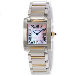 Cartier Tank Francaise SM combination W51027Q4 Ladies Watch Pink Shell Dial K18PG [Watch] ★