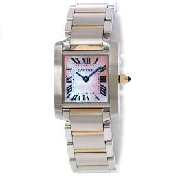 カルティエ タンクフランセーズSM コンビ W51027Q4 レディース 腕時計 ピンクシェル 文字盤 K18PG 【腕時計】★