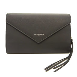 Balenciaga Paper Manny Zip Around Long Wallet Leather Gray 371661 Silver Hardware [Brand] ★