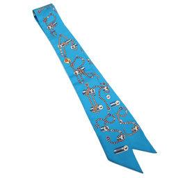 未使用 エルメス HERMES ツイリー スカーフ CORDAGES コルダージュ シルク 100% ブルー系  【小物】★