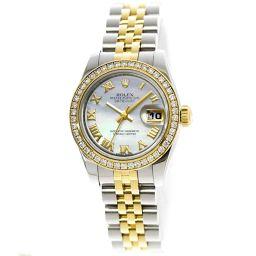 ロレックス ROLEX デイトジャスト コンビ 179383NR ダイヤベゼル レディース 腕時計 ホワイトシェル K18YG 【腕時計】★