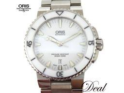 展示 未使用品 オリス アクイス デイト 01.733.7653.4156-07 白 自動巻 メンズ 腕時計