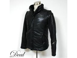 2010AW / diet butcher / leather down jacket / with bore / 2 WAY / lining cross / black / 1