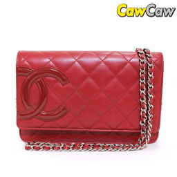 Chanel A 46646 Cambon Line Chain Wallet Red CHANEL