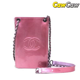 Chanel Coco Mark enamel diagonal chain chain shoulder Pochette metallic pink CHANEL