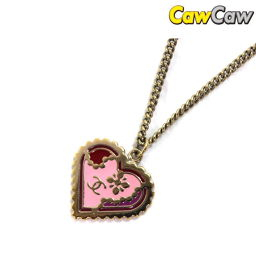 Chanel 05P Coco Mark Heart Necklace Plating Gold × Pink × Red CHANEL