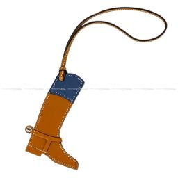 "HERMES Hermes Bag Charm ""Paddock Boots"" Natural Sable × Blue Agat Vor Butler × Swift New"