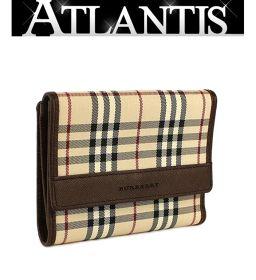 SALE 美品 バーバリー Wホック 二つ折り 財布 タータンチェック ブラウン