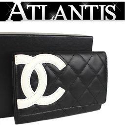 シャネル カンボン コンパクト 二つ折り 財布 黒×白