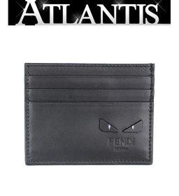 美品 フェンディ カードケース 名刺入れ モンスター レザー 黒 ブラック