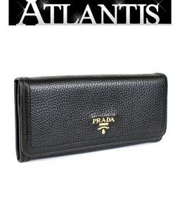 在庫処分大SALE 極美品 プラダ ファスナー付き 長財布 レザー 黒 ブラック