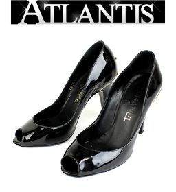 在庫処分大SALE シャネル CHANEL ココマーク パンプス 靴 エナメル ブラック size34 1/2