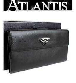 美品 プラダ Wホック 二つ折り 長財布 レザー 黒 ブラック