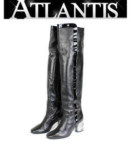 在庫処分大SALE 美品 シャネル ロングブーツ 靴 レディース ラム パテント 黒 size35 1/2