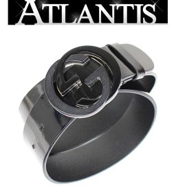 グッチ インターロッキングGバックル メンズ ベルト 黒 ブラック size80