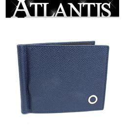 未使用 ブルガリ マネークリップ付き 二つ折り コンパクト 札入れ 財布 レザー ネイビー